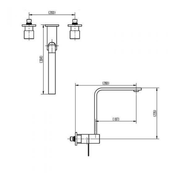 Cube 1/4 Turn Wall/Spa/Sink Set