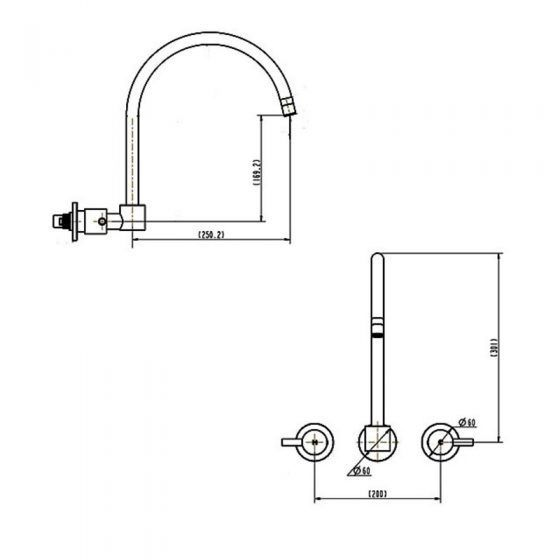 Fiona 1/4 Turn Wall/Spa/Sink Set Specs