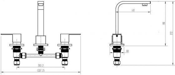 Cube 1/4 Basin Set Specs