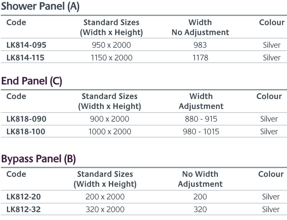Andora shower screen sizes