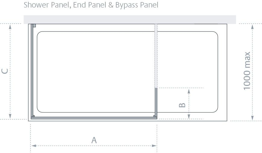 Andora shower panel, end panel and bypass panel
