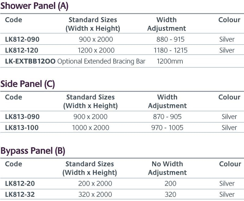 Palma shower screen sizes
