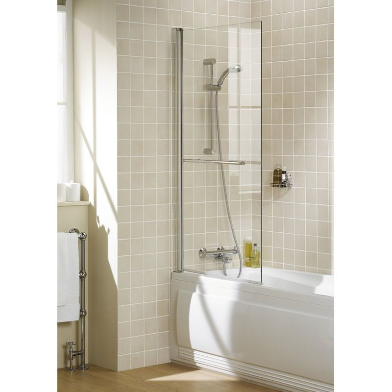 Square Panel Bath Screen With Towel Rail Bath Screens