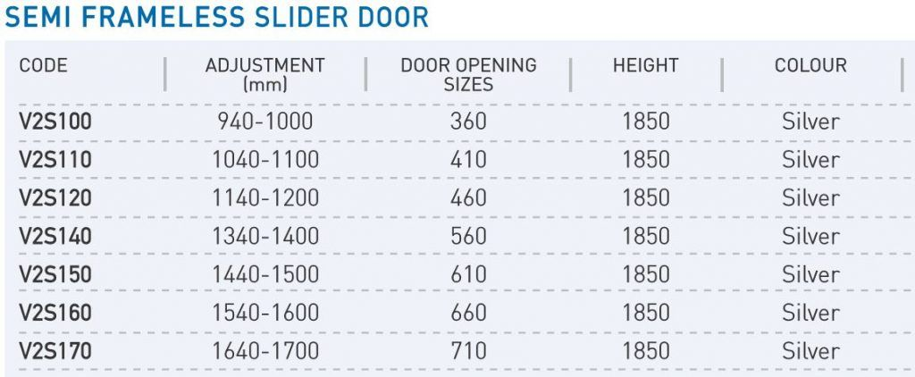 Slider Door Sizes