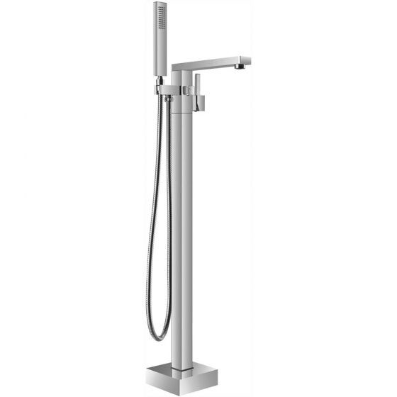 Cube Freestanding Bath Mixer Tap with Hand Shower