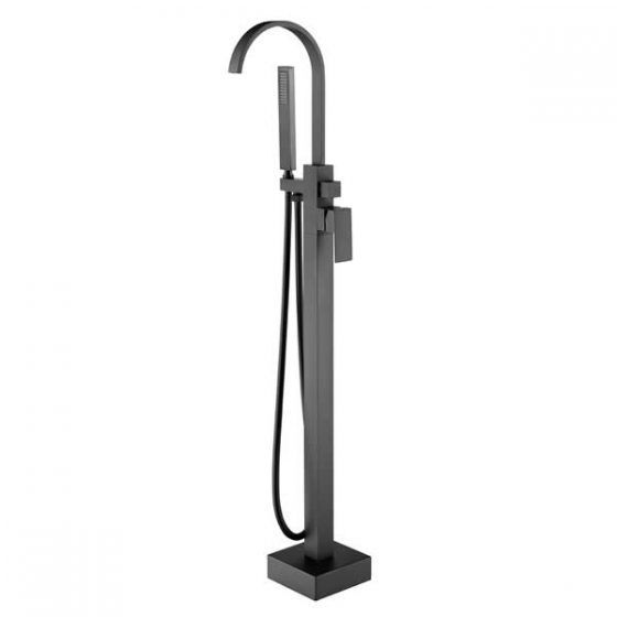 Cube Freestanding Bath Mixer Tap with Hand Shower – Black