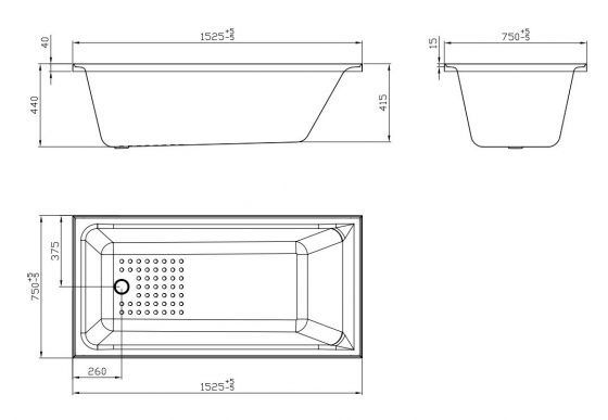 1525 Pavillion Insert Bath - Size Sheet