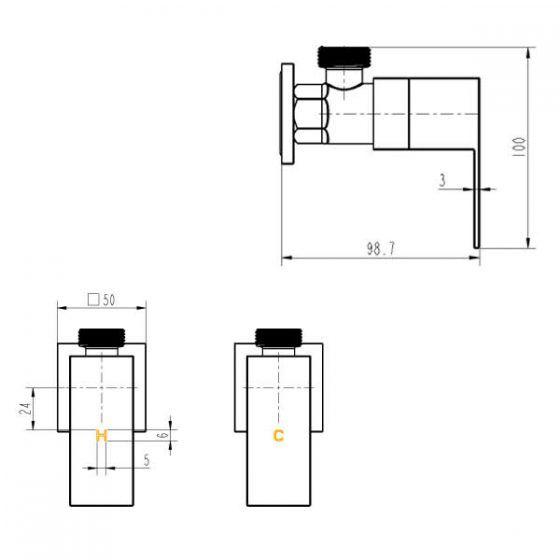 Cube 1/4 Turn Washing Machine Stops