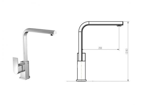Cube Curved Kitchen Mixer - Specs