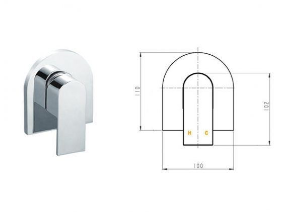 Cube Curved Shower Mixer