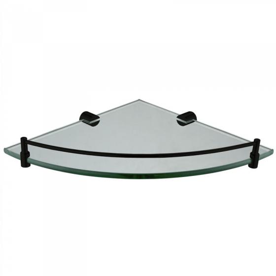 Round Black Corner Glass Shelf