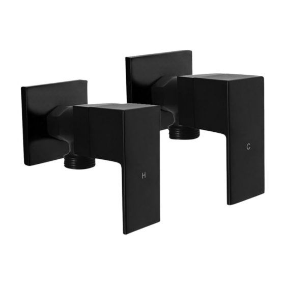 Cube Black 1/4 Turn Washing Machine Stops