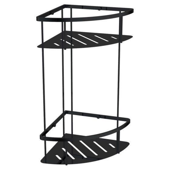 Cube Double Corner Shelf Basket Black